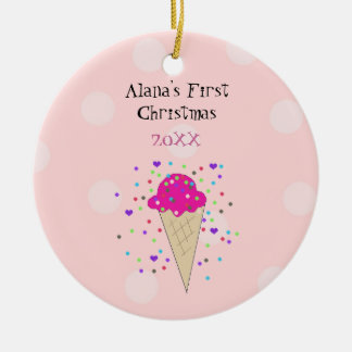 Rosa Eistüte-Baby-erstes Weihnachten Keramik Ornament