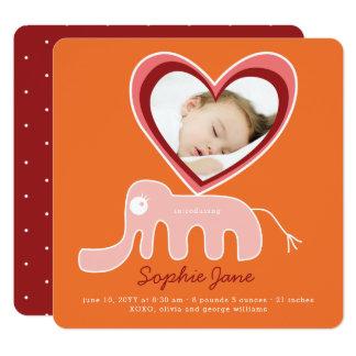 Rosa Elefant-Baby-Mädchen-Foto-Geburts-Mitteilung Quadratische 13,3 Cm Einladungskarte