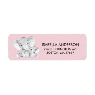 Rosa Elefant-Babyparty-Adressen-Etikett