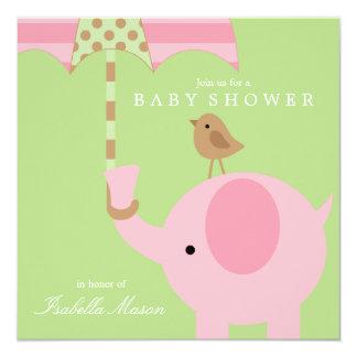 Rosa Elefant - Babyparty-Einladung des Grün-| Quadratische 13,3 Cm Einladungskarte