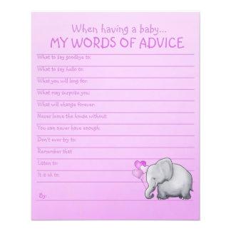 Rosa Elefant-Babyparty-Wörter der Rateschablone Flyer