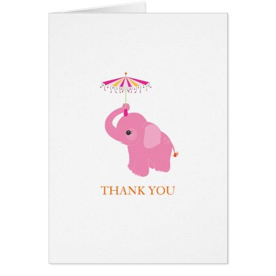Rosa Elefant danken Ihnen zu kardieren Karte