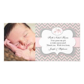 Rosa Elefant-Foto-Baby danken Ihnen zu kardieren Bild Karte