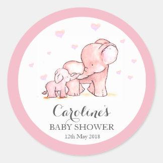 Rosa Elefant-Liebe-blaues Baby-Duschen-Aufkleber  Runder Aufkleber