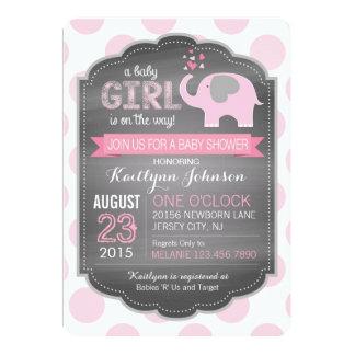 Rosa Elefant-und Punkt-Babyparty-Einladungen Karte