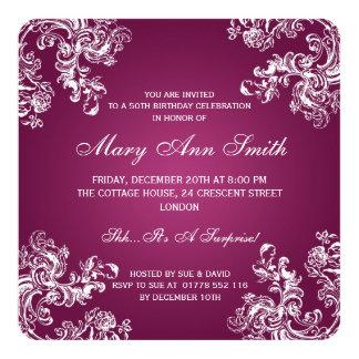 Rosa elegantes 50. des Geburtstags-Party-Vintages Quadratische 13,3 Cm Einladungskarte