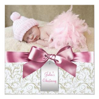 Rosa Elfenbein-Wirbels-Baby-Mädchen-Foto-Taufe Quadratische 13,3 Cm Einladungskarte