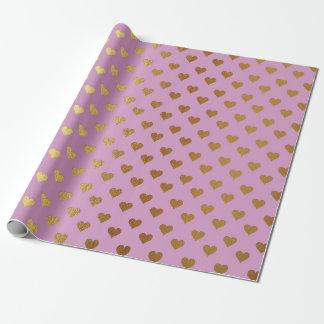 Rosa empfindlicher goldener Herz-Pastellschweiß Geschenkpapier