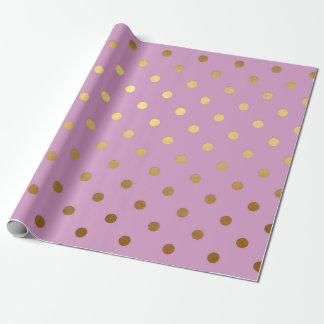 Rosa empfindlicher goldener Tupfen-Pastellschweiß Geschenkpapier