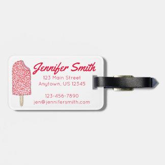 Rosa Erdbeereiscremepopsicle-kundenspezifischer Gepäckanhänger