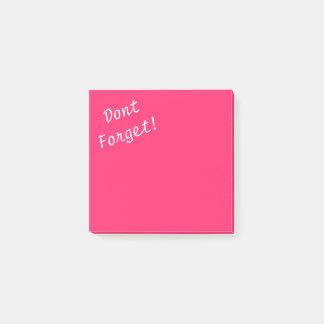 Rosa Fältchen-Heißes knallrosa vergessen nicht Post-it Klebezettel