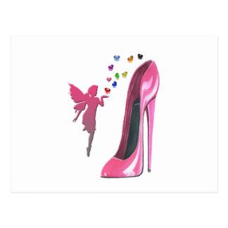 Rosa Fee-und Stilett-Schuh-Kunst Postkarte