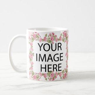 Rosa Feld-Schablone addieren Ihr Bild und/oder Kaffeetasse