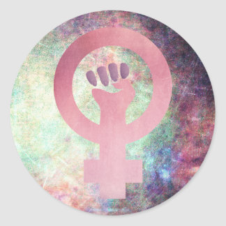 Rosa feministisches Symbol auf Runder Aufkleber