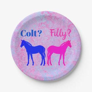 Rosa Filly u. blaues Colt-Western-Art-Geschlecht Pappteller