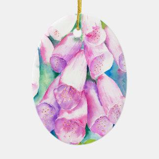 Rosa Fingerhüte des Aquarells Ovales Keramik Ornament