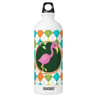 Rosa Flamingo auf buntem Rauten-Muster Aluminiumwasserflaschen