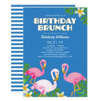 Rosa Flamingo-Geburtstags-Brunch-Blau Karte