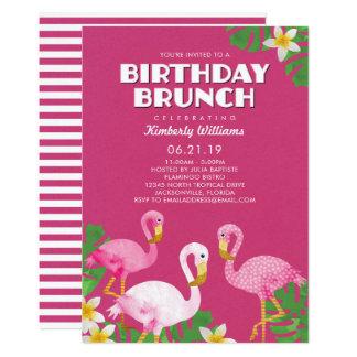 Rosa Flamingo-Geburtstags-Brunch-Fuchsie Karte
