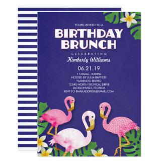 Rosa Flamingo-Geburtstags-Brunch Karte
