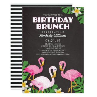 Rosa Flamingo-Geburtstags-Brunch-Tafel Karte