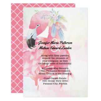 Rosa Flamingo-Hochzeits-Einladung Karte