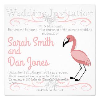 Rosa Flamingo-Hochzeits-Einladung (kundengerecht) Karte