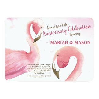 Rosa Flamingo-Hochzeitstag-Einladung Karte