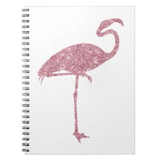 Rosa Flamingo-Imitat-Glitter-Flamingos tropisch Notiz Buch