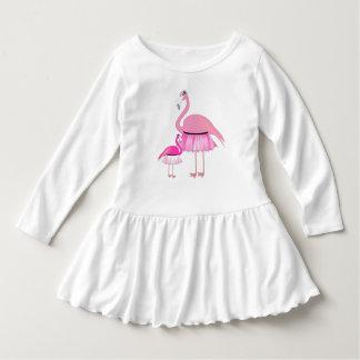Rosa Flamingo-Kleinkind-Rüsche-Kleid Kleid