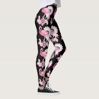 Rosa Flamingo-Muster-Girly cooles Schwarzes Leggings