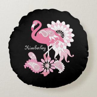 Rosa Flamingo-niedliches elegantes Rundes Kissen