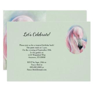 Rosa Flamingo-Pastellkunst-tropisches Party Karte