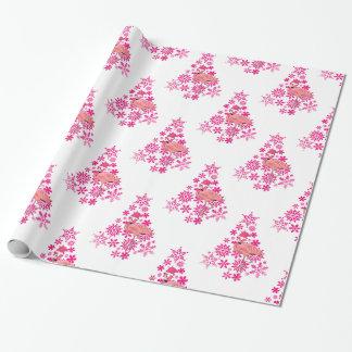 Rosa Flamingo-Sankt-Schneeflocke-Weihnachtsbaum Geschenkpapier