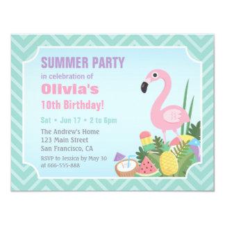 Rosa Flamingo-Sommer Luau Geburtstags-Party lädt Karte