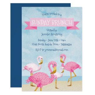Rosa Flamingo-Sonntagbrunch-Party Karte