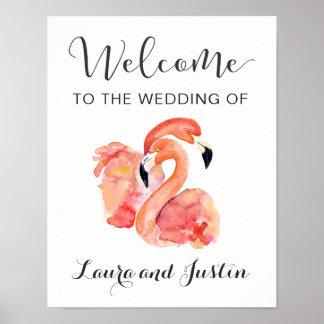 Rosa Flamingo-Strand-Hochzeits-Willkommen Poster