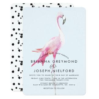 Rosa Flamingo-tropische Art-Hochzeit Karte