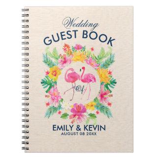 Rosa Flamingo-tropischer Kranz-HochzeitGuestbook Notizbuch