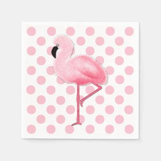 Rosa Flamingo-und Tupfen-Servietten Servietten