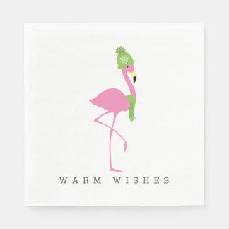 Rosa Flamingo-Winter-Weihnachtsservietten Servietten