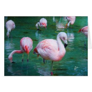 Rosa Flamingos Karte