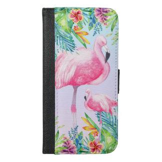Rosa Flamingos u. bunte tropische Blumen iPhone 6/6s Plus Geldbeutel Hülle