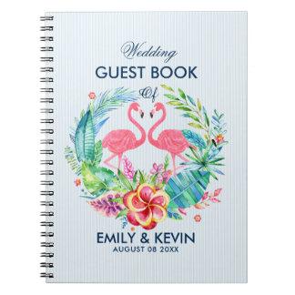Rosa Flamingos u. tropischer BlumenWreath Notiz Buch