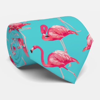 Rosa Flamingovögel auf Türkishintergrund Individuelle Krawatten