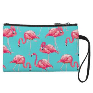 Rosa Flamingovögel auf Türkishintergrund Wristlet