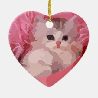 rosa flaumiges Kätzchen Keramik Ornament