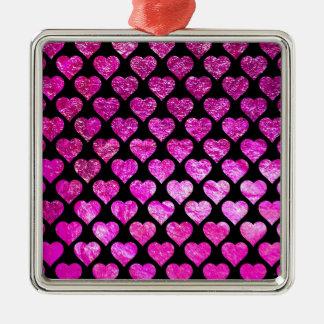 Rosa Folien-Herzen Silbernes Ornament