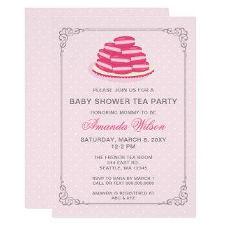 Rosa Franzosen Macaron Baby-Duschen-Tee-Party lädt 12,7 X 17,8 Cm Einladungskarte