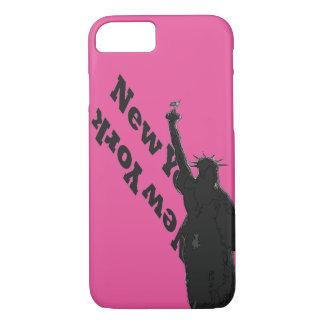 Rosa Freiheitsstatue Schwarzes USA NYC iPhone Fall iPhone 7 Hülle